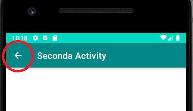L'ActionBar con il supporto della navigazione indietro