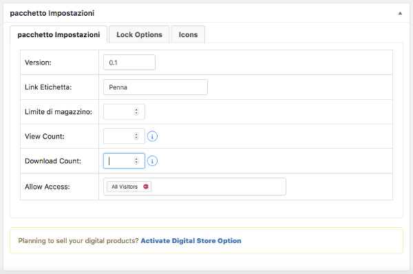Il metabox delle impostazioni di download dei singoli file