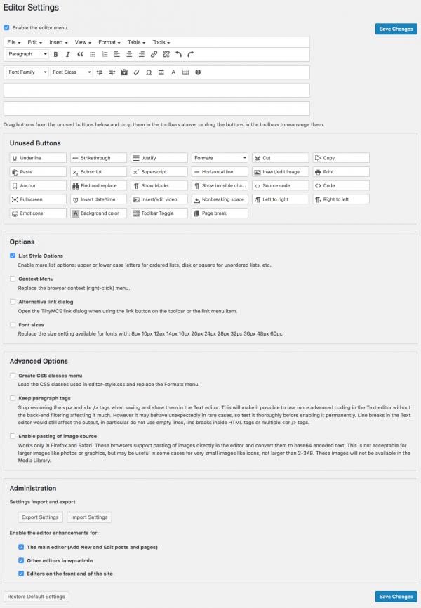 TinyMCE Advanced settings