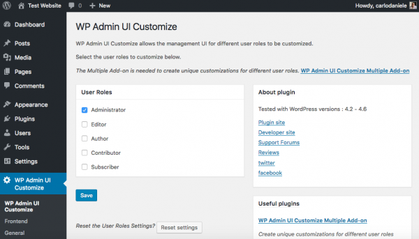 WP Admin UI Customize