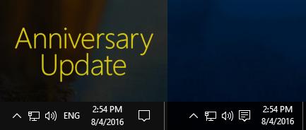 Barra delle applicazioni prima e dopo l'Anniversary Update di Windows 10