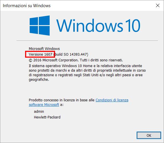 Verifica del numero di buil della versione di Windows 10
