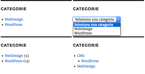 Widget Categorie (front-end)