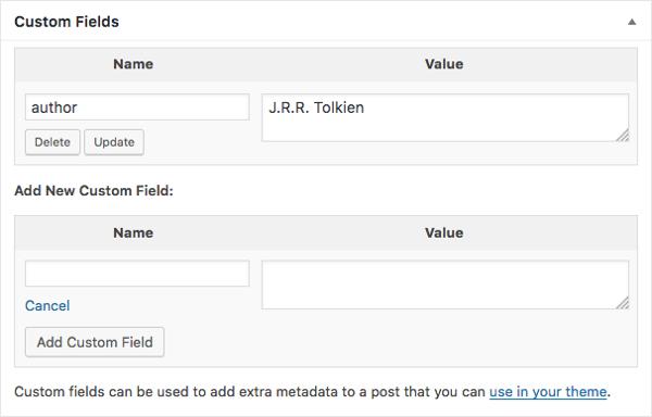 Meta Box dei campi personalizzati