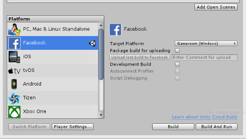 Unity Editor: supporto a Facebook per il game development