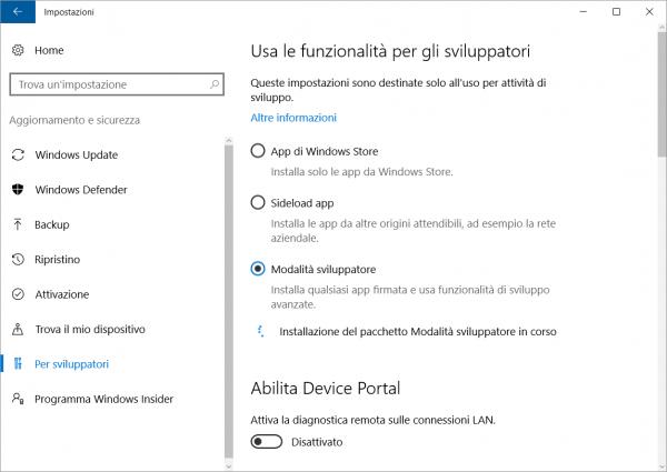 Abilitare la Modalità sviluppatore su Windows 10
