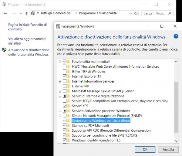 Abilitare il Sottosistema Windows per Linux