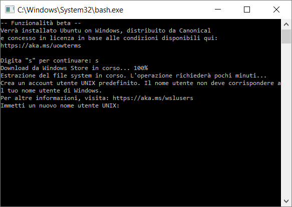 Download, installazione e configurazione di Bash su Windows 10