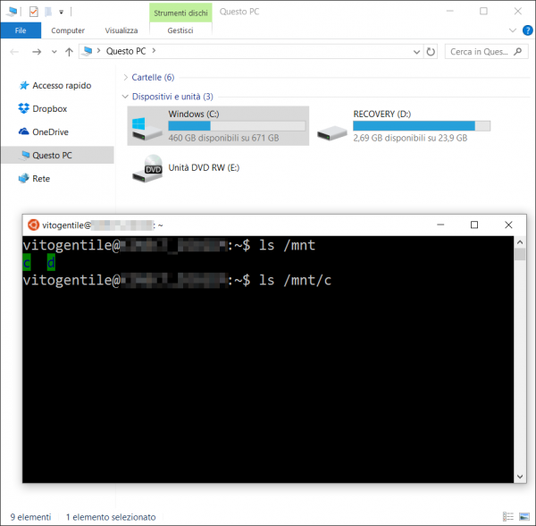 Accedere ai file di Windows da Bash