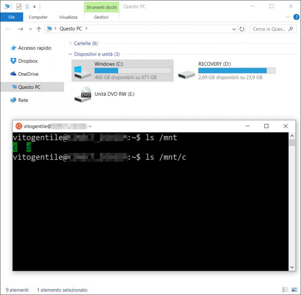 Accedere ai file di Windows da Bash