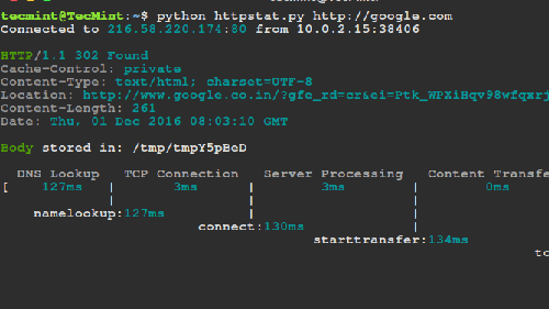 httpstat: shell tool per misurare le prestazioni di un sito Web