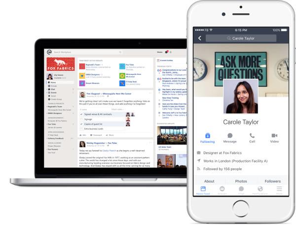 Interfaccia Facebook Workplace