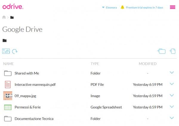 Visualizzazione dei file su ODrive