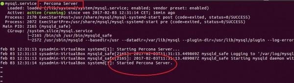 Stato del servizio con Percona Server