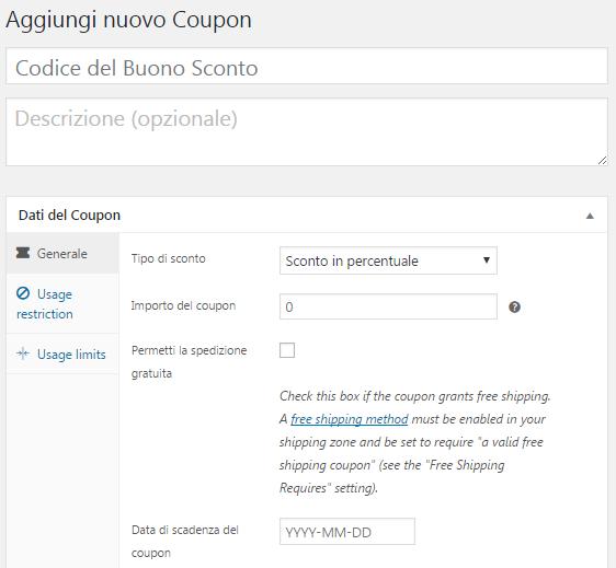 Creare un nuovo coupon