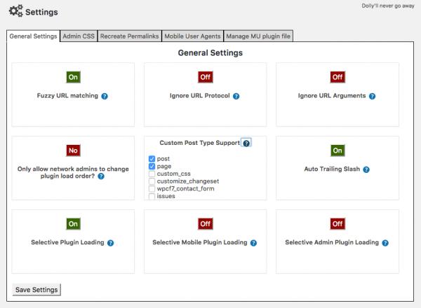 Plugin Organizer settings