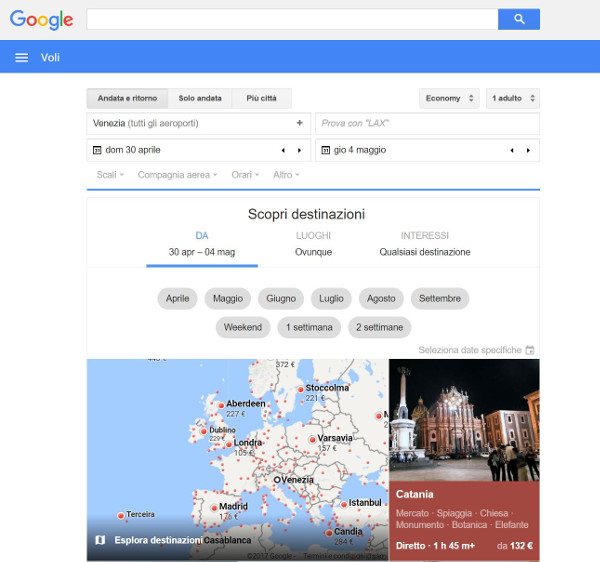 Interfaccia Google Flights