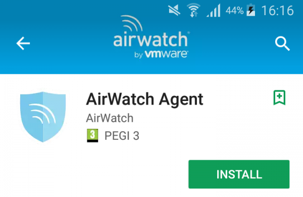 AirWatch Agent Google Store