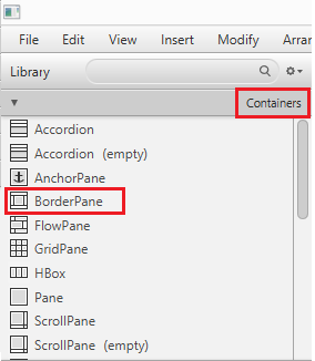 Containers in Scene Builder