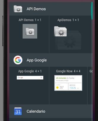 Scelta di un App Widget