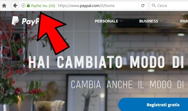 Barra degli indirizzi di PayPal su Firefox