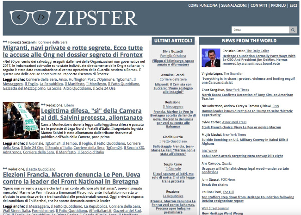 Interfaccia Zipster.it