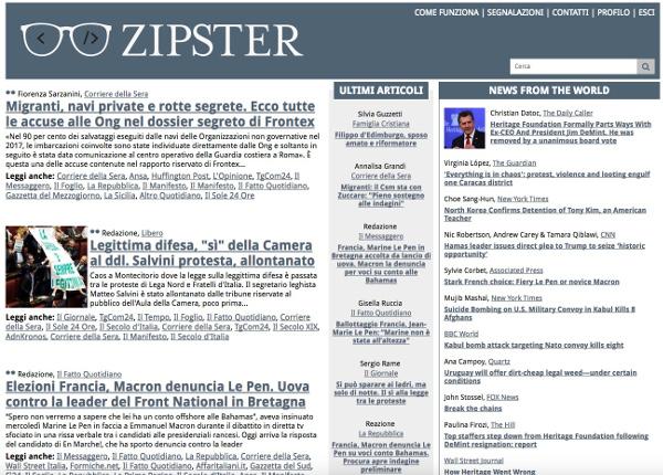 Interfaccia Zipster.it