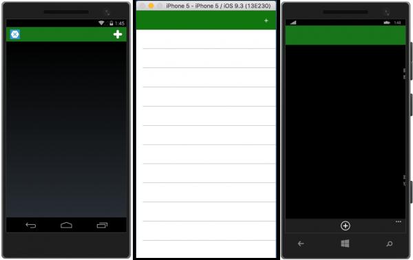 Schermata dell'app al primo avvio: nessun dato da visualizzare