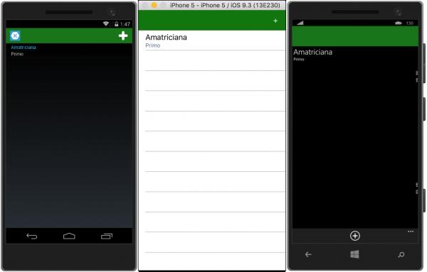 Pagina principale dell'app