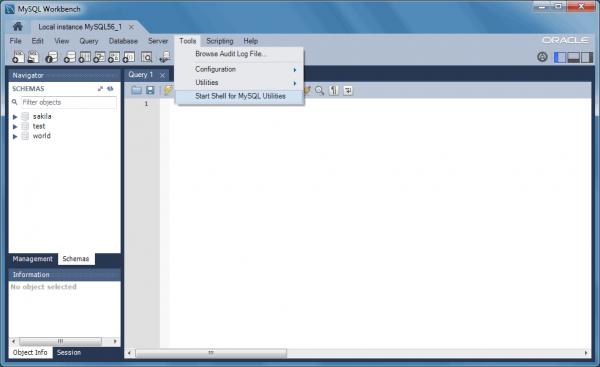 Accedere alle MySQL Utilities tramite MySQL Workbench