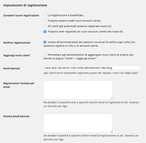 Impostazioni di registrazione