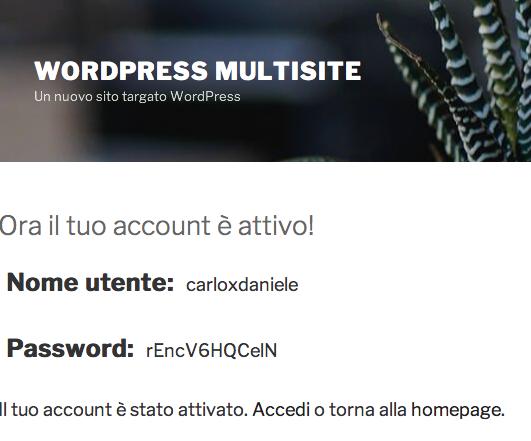 Pagina di attivazione utente