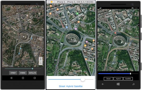 Visualizzazione delle mappe di tipo Hybrid e zoom dinamico tramite uno Slider