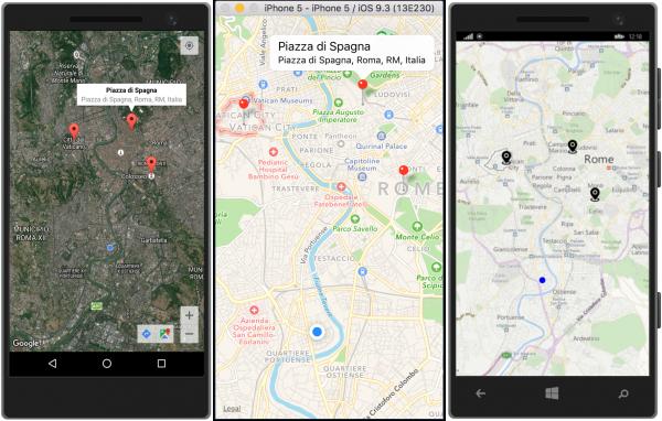 Esempio di geolocalizzazione dell'utente e visualizzazione di punti di interesse