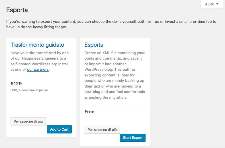 Esporta da WordPress.com