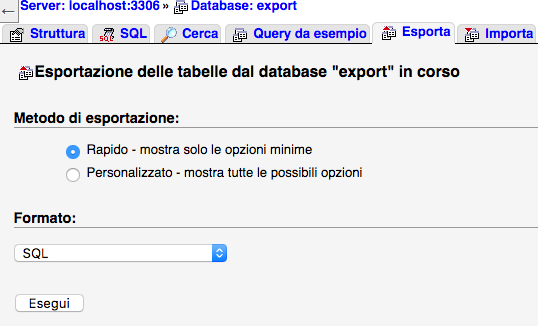 Esportazione database