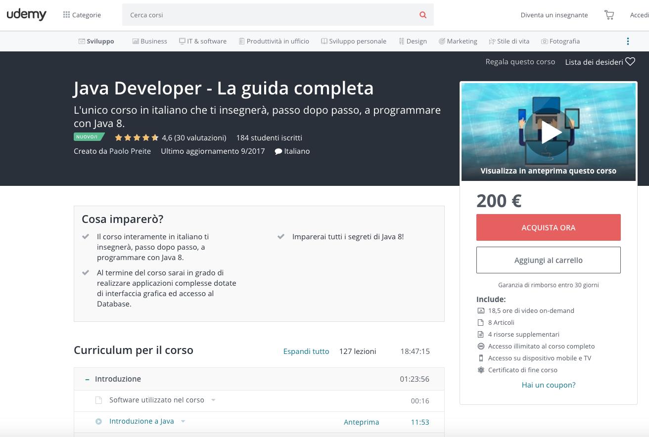 Java Developer, guida completa di Udemy in offerta a €10 (scontato del 95%) per un periodo limitato