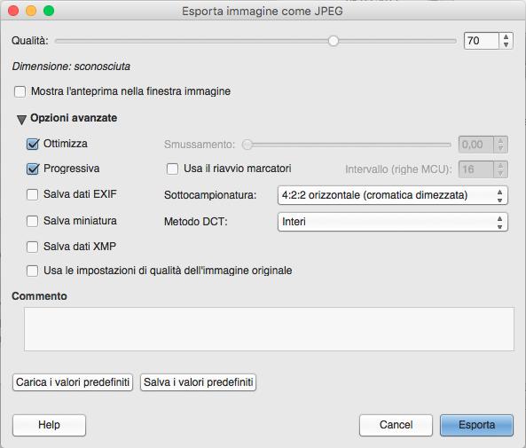 Esportazione delle immagini JPEG in GIMP
