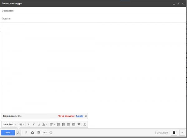 Gmail identifica subito il file allegato trojan.exe come malware