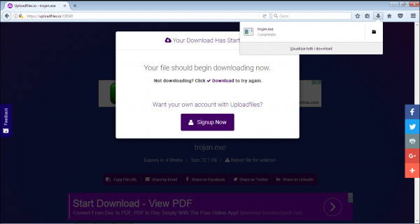 Avvio del download del file malevolo