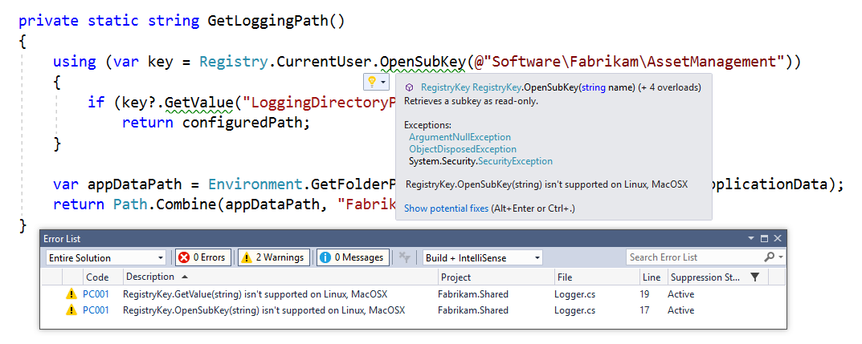 Windows Compatibility Pack per .NET Core