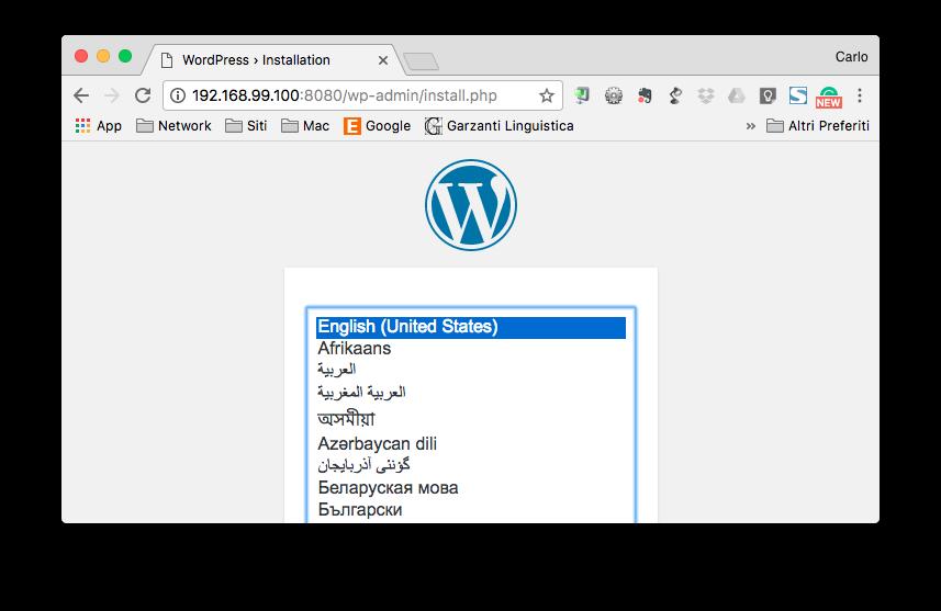 WordPress in esecuzione