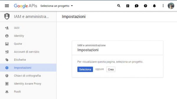 Pagina iniziale della Google Developer Console