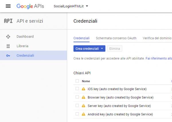 Sezione Credenziali della Google Developer Console