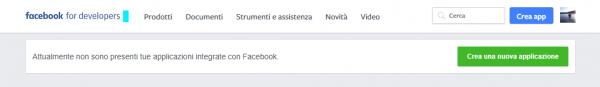 Pagina iniziale della sezione developer di Facebook