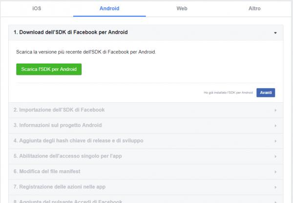 Inizio procedura di registrazione dell'applicazione per Android