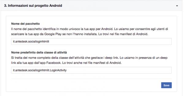Informazioni sul progetto Android