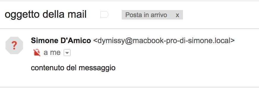 Invio della mail