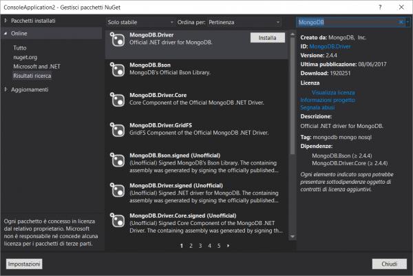 Installazione del driver di MongoDB per C#